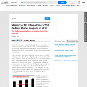 Majority of US Internet Users Will Redeem Digital Coupons in 2013