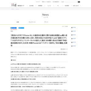 「iPhone 4S」 の通信会社選択に関する満足度調査