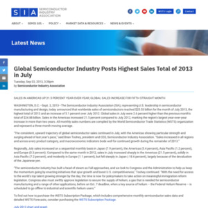Global Semiconductor Industry Posts Highest Sales Total of 2013 in July