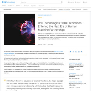 Dell Technologies 2018 Predictions ? Entering the Next Era of Human Machine Partnerships
