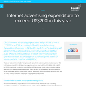 Internet advertising expenditure to exceed US$200bn this year